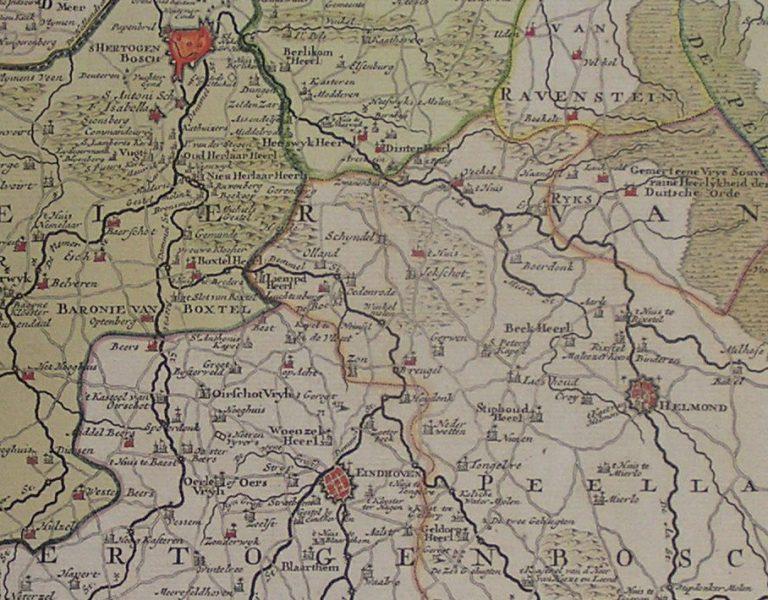 Detail kaart van Noord-Brabant